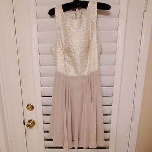 Anthro gold and beige fit and flare dress Sz. L